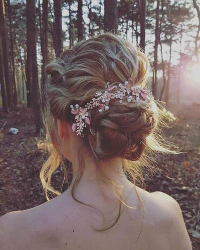 Aimee  blush rose gold floral hair vine